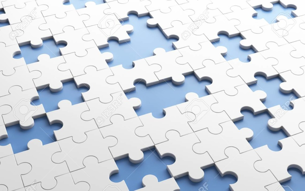 Missing jigsaw puzzle pieces in unfinished work concept. White pattern texture background.